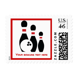 Bowling ball and pins custom postage stamps