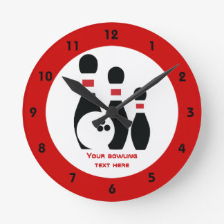 Bowling ball and pins custom round clock