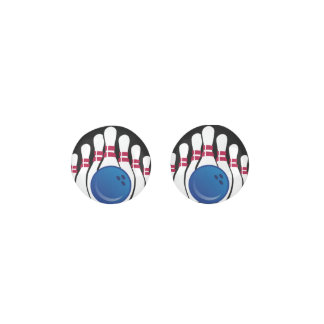 Bowling Ball and Pins Design Stud Earrings