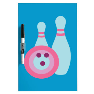 Bowling Ball and Pins Dry Erase Board