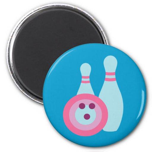 Bowling Ball and Pins Fridge Magnets