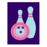 Bowling Ball and Pins Postcard