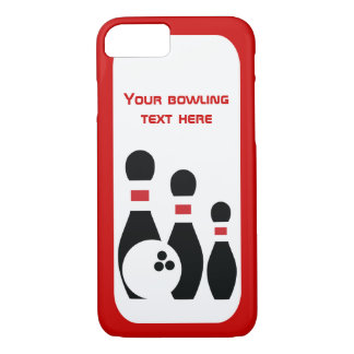 Bowling ball and pins red black modern iPhone 8/7 case