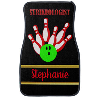 Bowling ball and pins with the text STRIKEOLOGIST Car Mat