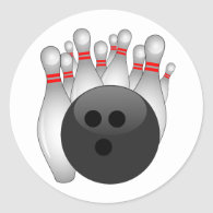 Bowling Ball And Ten Pins Classic Round Sticker
