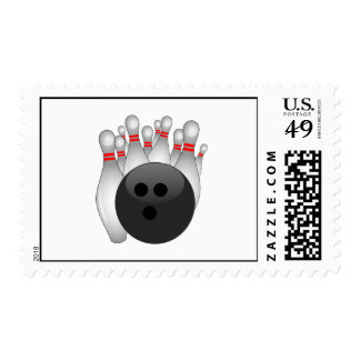 Bowling Ball And Ten Pins Stamp