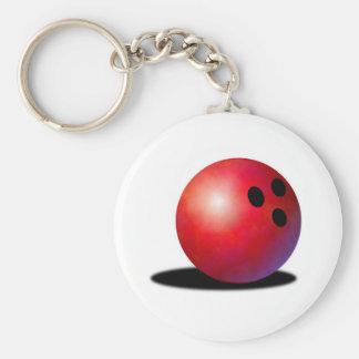 Bowling ball basic round button keychain