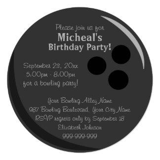 "Bowling Ball Birthday Party 5.25"" Square Invitation Card"