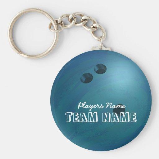 Bowling Ball Blue Keychains