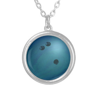 Bowling Ball Blue Silver Plated Necklace
