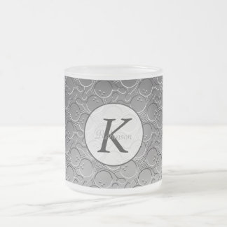 Bowling Ball Chrom Look Pattern Personalizable Frosted Glass Coffee Mug