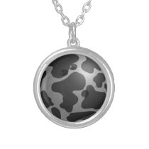 Bowling Ball Cow Gray Silver Plated Necklace