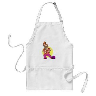 bowling ball crushing foot lady cartoon adult apron