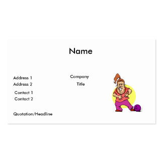 bowling ball crushing foot lady cartoon Double-Sided standard business cards (Pack of 100)