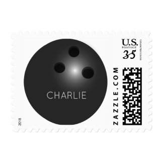 Bowling Ball custom name postage stamps
