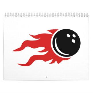 Bowling ball fire flames calendar