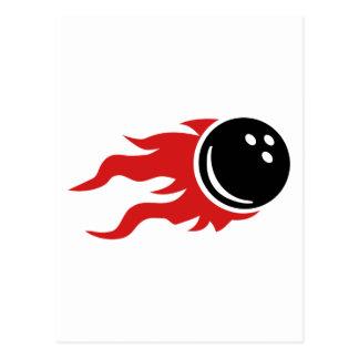 Bowling ball fire flames postcard
