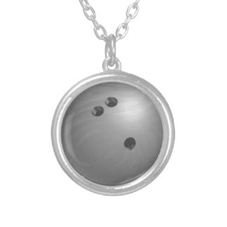 Bowling Ball Gray Silver Plated Necklace
