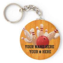 Bowling Ball Keychain Personalize YOUR NAME ID Tag