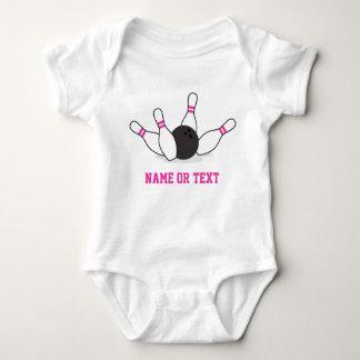 Bowling ball knocking down pins - hot pink baby bodysuit