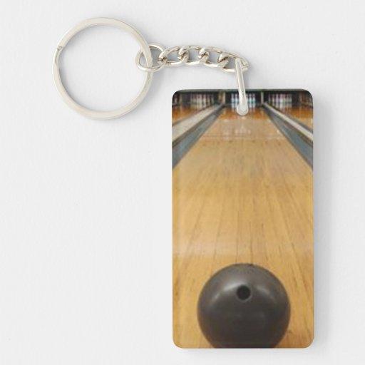 Bowling ball lane rectangular acrylic keychains