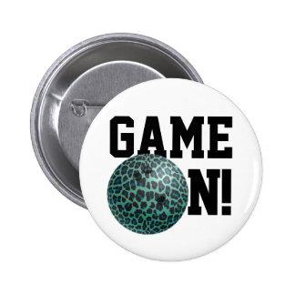 Bowling Ball Leopard Teal Pin