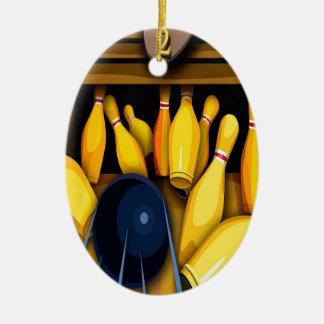 Bowling Ball Pin Funny Photo Colorful Design Ceramic Ornament