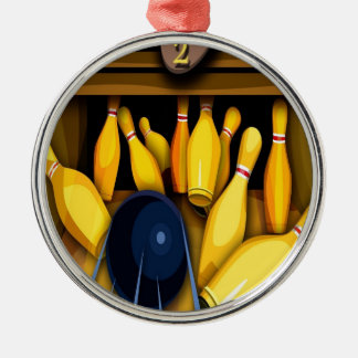 Bowling Ball Pin Funny Photo Colorful Design Metal Ornament