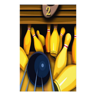 Bowling Ball Pin Funny Photo Colorful Design Stationery