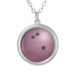 Bowling Ball Pink Silver Plated Necklace
