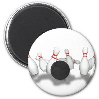 Bowling Ball & Pins: 3D Model: 2 Inch Round Magnet