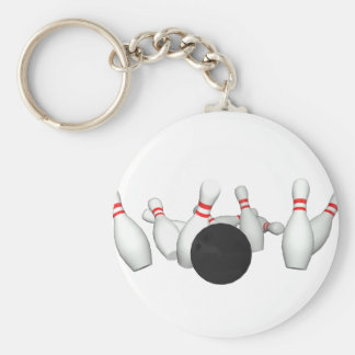 Bowling Ball & Pins: 3D Model: Basic Round Button Keychain