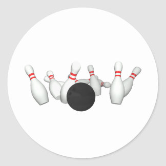Bowling Ball & Pins: 3D Model: Classic Round Sticker