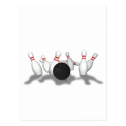 Bowling Ball & Pins: 3D Model: Postcard