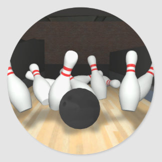 Bowling Ball & Pins: 3D Model: Round Stickers