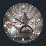 """Bowling Ball Pins Man Cave Wall Clock<br><div class=""""desc"""">A unique garage or man cave bowling decorative wall clock. A great addition to any home or office. Also makes a great gift idea for any father or husband.</div>"""