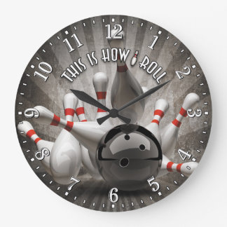 Bowling Ball Pins Man Cave Wall Clock