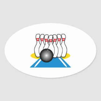 Bowling Ball & Pins Oval Stickers