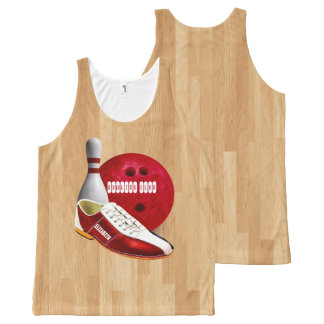 Bowling Ball Shoe And Pin With Your Custom Name All-Over-Print Tank Top