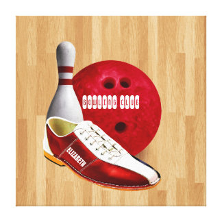 Bowling Ball Shoe And Pin With Your Custom Name Canvas Print