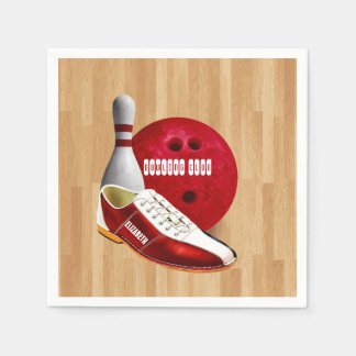 Bowling Ball Shoe And Pin With Your Custom Name Paper Napkin