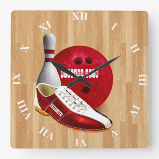 Bowling Ball Shoe And Pin With Your Custom Name Square Wall Clock