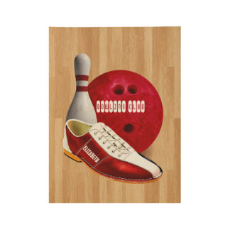 Bowling Ball Shoe And Pin With Your Custom Name Wood Poster