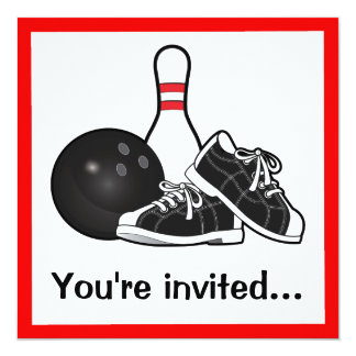 Bowling Ball, Shoes and Pin After-Game Party Card