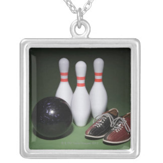 Bowling Ball Silver Plated Necklace