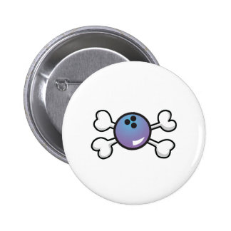 bowling ball Skull and Crossbones Button