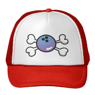 bowling ball Skull and Crossbones Trucker Hat