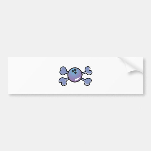 bowling ball Skull purple Crossbones Bumper Stickers