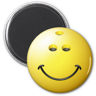 Bowling Ball Smiley Face 2 Inch Round Magnet