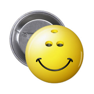 Bowling Ball Smiley Face 2 Inch Round Button